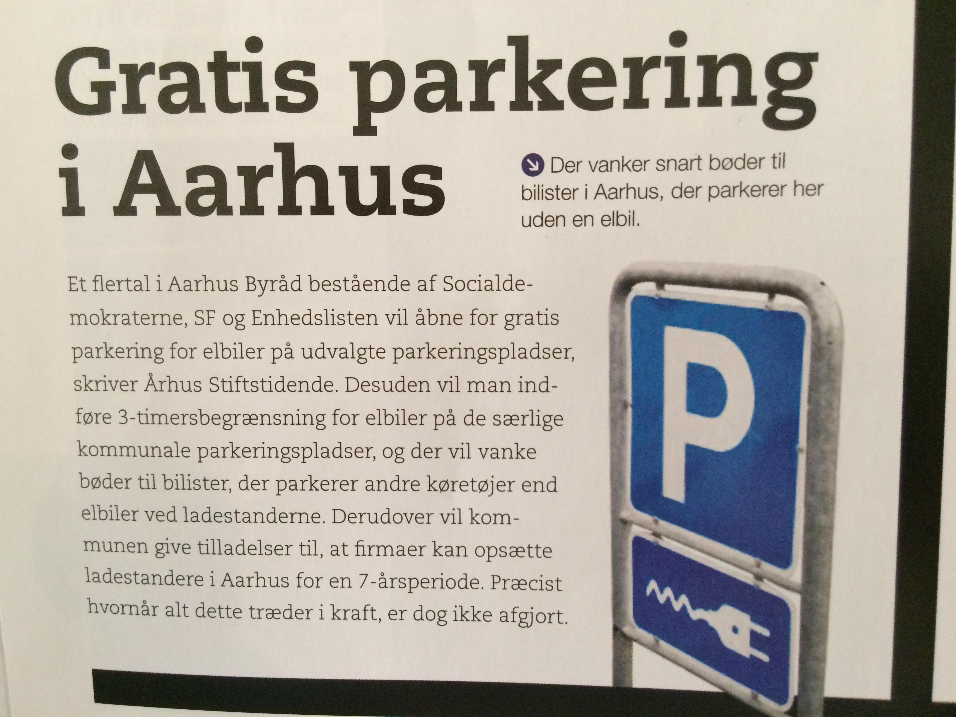 Artikel fra GO om kommende nye regler for elbil-parkering i Århus